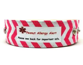 Pink Chevron  Medical Alert Bracelet Safety ID Fabric Band for Kids