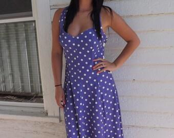 Vintage Purple Polka Dot Dress Retro 80s Pinup XS S