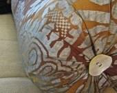 ANICHINI Bolster Decorative Pillow 10x26 with MOP Buttons Down Insert FAB!