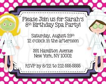 """CUSTOM Spa Party 4x6"""" Invitation"""