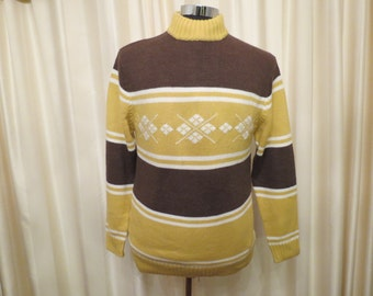 Vintage 60s 70s Mens' Diamond and Stripe Pattern Mustard Yellow Brown and White Jumper Sweater