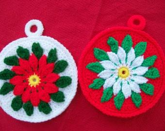 Two Hand Crocheted Christmas Potholders