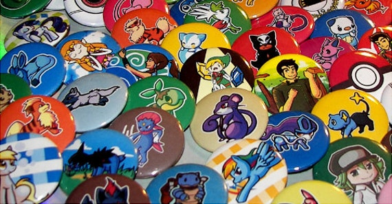 Pick any 10 buttons: Pokemon, My Little Pony, Legend of Korra, Adventure Time, and Legend of Zelda