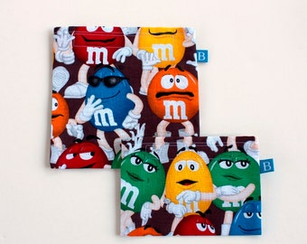 Reuseable Eco-Friendly Set of Snack and Sandwich Bags in Teenage Mutant Ninja Turtles Fabric