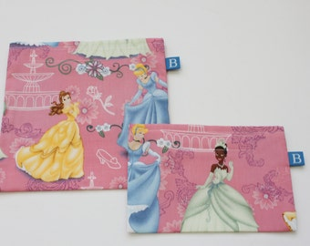 Reuseable Eco-Friendly Set of Snack and Sandwich Bags in Princess Fabric