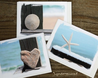 Seaside Beach Theme Cards- Heart stone, Sand Dollar, Starfish- variety set of 3 beach greeting cards, gifts from the sea, pretty beach cards