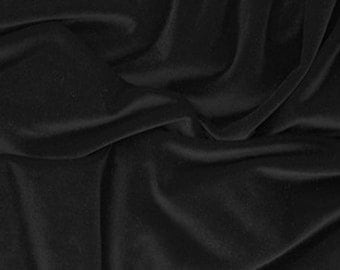 Black Stretch Velvet Fabric by the Yard, Black, Red or Navy