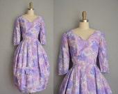 vintage 1950s dress / 50s dress / floral silk party dress
