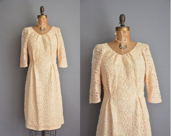 vintage 1950s dress / cream textured floral dress / 50s dress