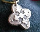 Paris Flea Market Bronze Quatrefoil  Keychain Key Fob  Key Chain in Solid Bronze
