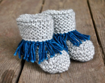 Made to Order Hand Knit Merino Wool Rolled Cuff Fringe Booties Newborn-18 Months