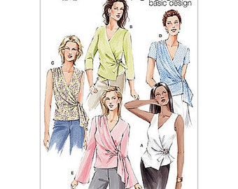 Sz 6/8/10 - Vogue Top Pattern V7876 - Misses' Unlined Wrap Top in Five Variations