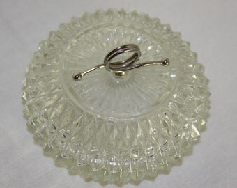 Vintage Diamond Cut Glass Candy or Vanity Dish with Chrome Double Loop Handle Mid Century style Heavy Clear Glass