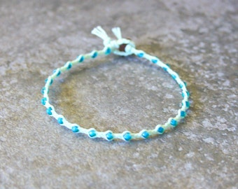Mint Green and Teal Single Wrap Bracelet Perfect Beach Jewelry