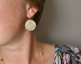 Gold Hammered Disc Earrings - large gold filled circle round drop dangle metal handmade gift for her - simple everyday jewelry