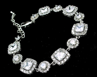 wedding bracelet prom gift bridesmaid pageant party bridal jewelry Clear white square cushion cut cubic zirconia halo pave round cz combo