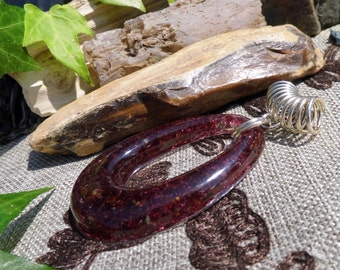 Large Garnet in Resin Silver Scarf Pendant