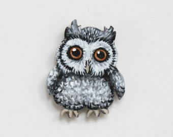 Gray Baby Owl Pin - Owl Brooch - Handmade Painted Wood Owlet Pin - Gray Black White Owl Brooch - Owl Jewelry Gift - Owl Fashion Accessory