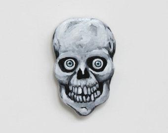 Skull Brooch - Skull Pin - Handmade Painted Skull - Wooden Skull Jewelry - Skull Accessory - Halloween Skull Pin - Halloween Jewelry Brooch