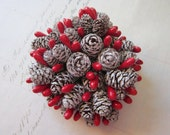 pine cone and berry picks - miniature pinecones, red berries, 12 stems