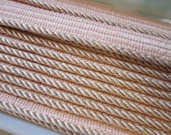 "2 yards WRIGHTS braided cord trim - home decorator trim, home dec piping - 3/16"" peach - 100% rayon"