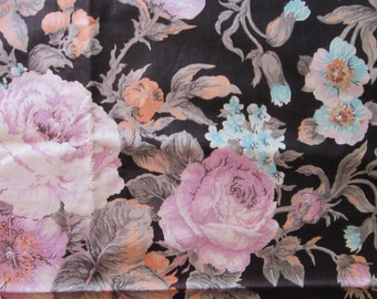 2.125 yards vintage fabric - Marcus Bros lavender rose on black - 44 inches wide