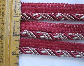 """2.5 yards WRIGHTS braided cord trim - home decorator trim, home dec piping - 3/8"""" burgundy and beige - rayon blend"""