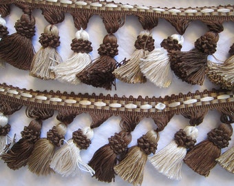 """WRIGHTS tassel trim - 58 inches long - home decorator trims, home dec tassel - 3"""" brown, beige, cream tassels"""