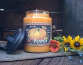 Fall Harvest - 26oz Apothecary Jar Candle  - Handmade - Highly Scented - Pumpkin Apple Butter Scented - Only 23.99