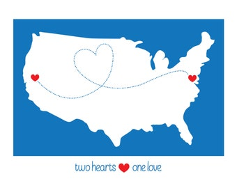 LOVE MAP, Personalized Long Distance Love, Heart, USA, Geography Love Map