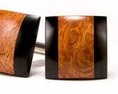Wood Cufflinks - Amboyna Burl Ebony - Handcrafted Wooden All Occasion Gift for Men and Women