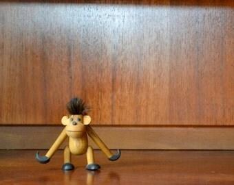vintage mid century sveistrup wood monkey figurine