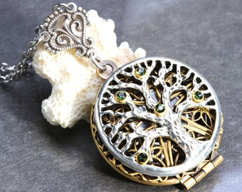 Compass Necklace Tree of Life Necklace Steampunk Necklace Working Compass Locket