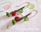 Lady Bug Garden Hanging Earrings With Little Green Leaves