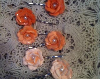 Floral Bobby Pin Set - Flower Hair Pins - Set of Six