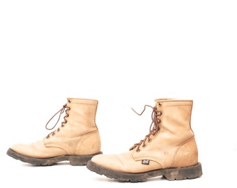 men's size 9 JUSTIN tan COMBAT leather 80s mid calf work boots USA