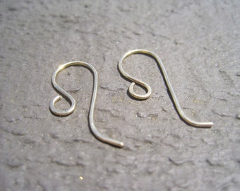 2 pairs Handcrafted 14K Gold Filled 20 Gauge French Earwires 20mmx10mm, Artison Hammered Earwires, Jewelry Findings