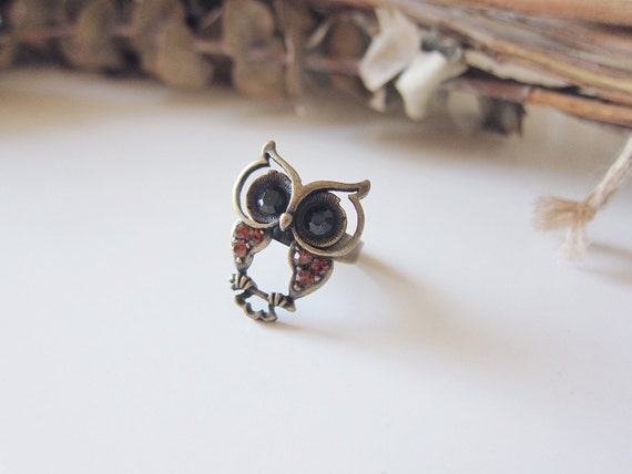 Baby Hooters Ring -Brass Owl Ring