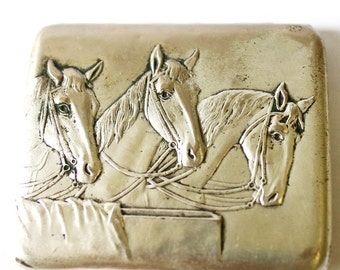 Vintage Cigarette Case Metal Card Holder Equestrian Horse Head Horses Silver Plated from Russia Soviet Union