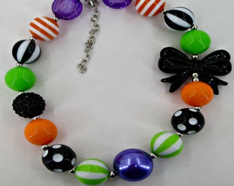 Bubblegum chunky Halloween Necklace for little girls photoprop too