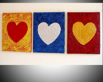 "romantic three panel mothers day gift Wall sculpture heart triptych canvas  ""three of hearts"" 3 panel art Textured Abstract Painting Impasto"