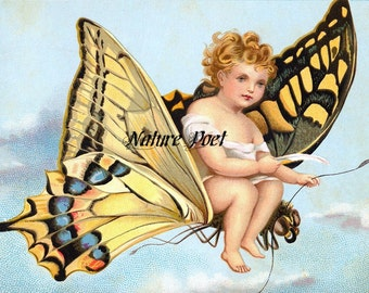 Butterfly Ride Storybook Illustration Downloadable, Printable, Digital Art Image. Instant Download
