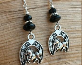 Black Horseshoe Sterling Silver Earrings, Lucky Black Horseshoe Silver Earrings, Black Horse Sterling SIlver Earrings