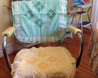 Vintage Gingham Chicken Scratch Embroidery throw Pillows Covers