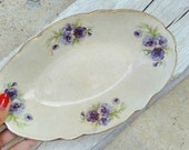 Antique floral serving decor plate Portuguese White Cream Purple Flowers Rustic Country Vintage