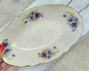 Antique floral serving decor plate Portuguese White Cream Purple Flowers Rustic Country Vintage