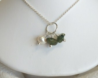 Peridot and Sterling Silver Cluster Necklace