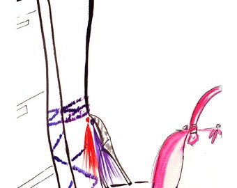 Watercolour Fashion Illustration Titled Shopping at Aspinal