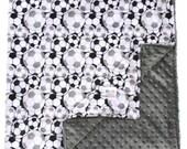 Baby Blanket Soccer Double Minky Blanket, Baby Gift, Nursery, Crib Blanket, Stroller Blanket, Crib Bedding, Throw Blanket, Gender Neutral
