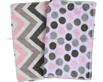 Pink Grey Chevron and Polka Dot Double Minky Burp Cloth Set, Drool Bib, Modern Burp Cloth, Drooling Bib, Baby Gift, Girl Burp Cloths